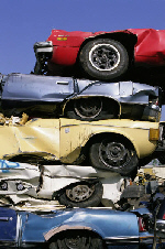 scrapped cars for recycling